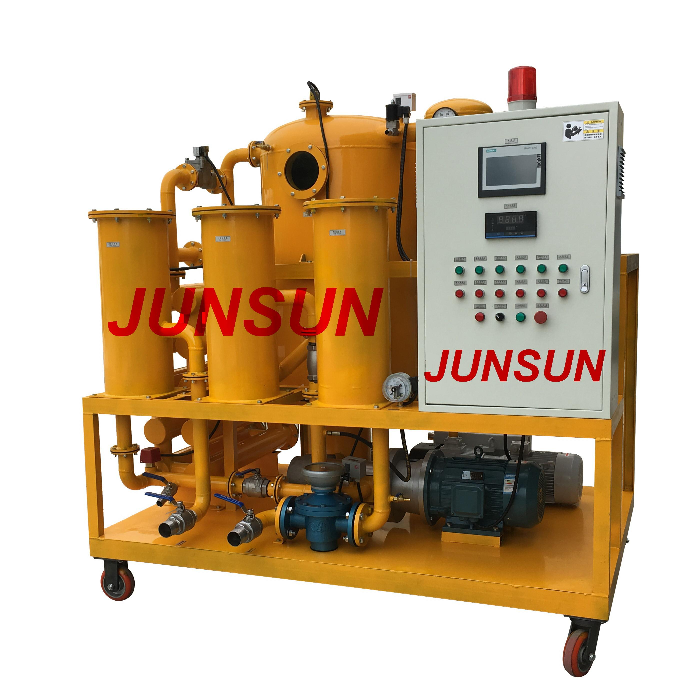 JUNSUN Insulation Oil Purifier/ Mobile Transformer Oil Purification Plant With Siemens PLC