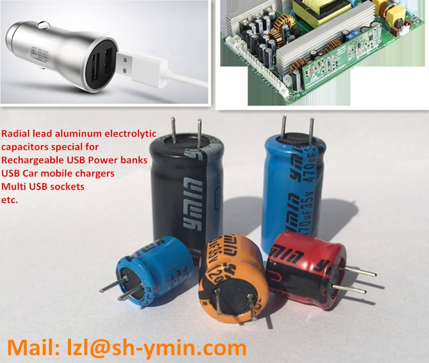 Radial lead aluminum electrolytic capacitor special for fast USB car mobile chargers