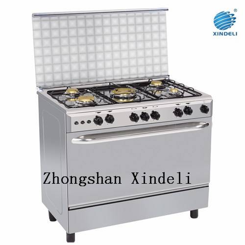 5 Brass burners gas cooking range with oven and grill