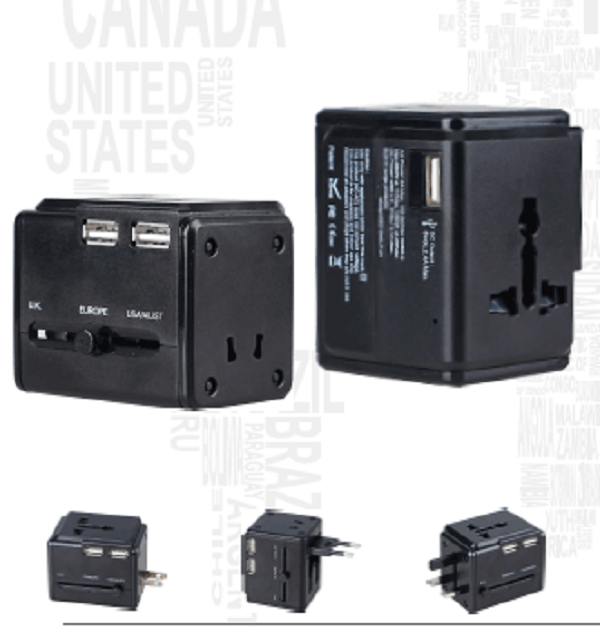 Univesal Travel Adapter with Three USB 3.1A Chargers