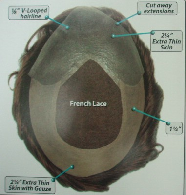 Human Hair French Lace Wth V-looped base men's toupe