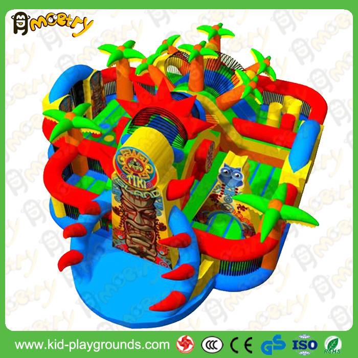 Customized Commercial 0.55mm PVC Tarpaulin Giant Inflatable Amusement Park For Kids Play
