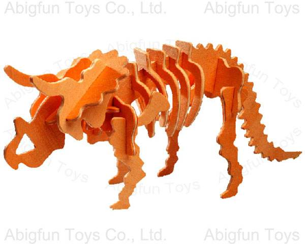wood craft model dinosaur kit, Triceratops construction toy