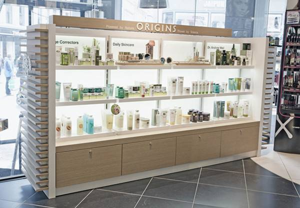 High quality wooden cosmetic display rack, cosmetic display stand