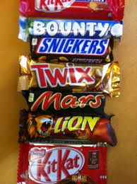 Snickers, Mars Chocolate, Twix, Kitkat, Bounty, Nutella