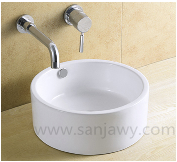 white Small Size Ceramic Counter top Bathroom Wash Basin