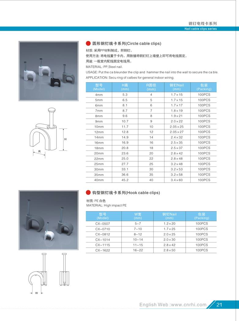 Wire nail Cable clip