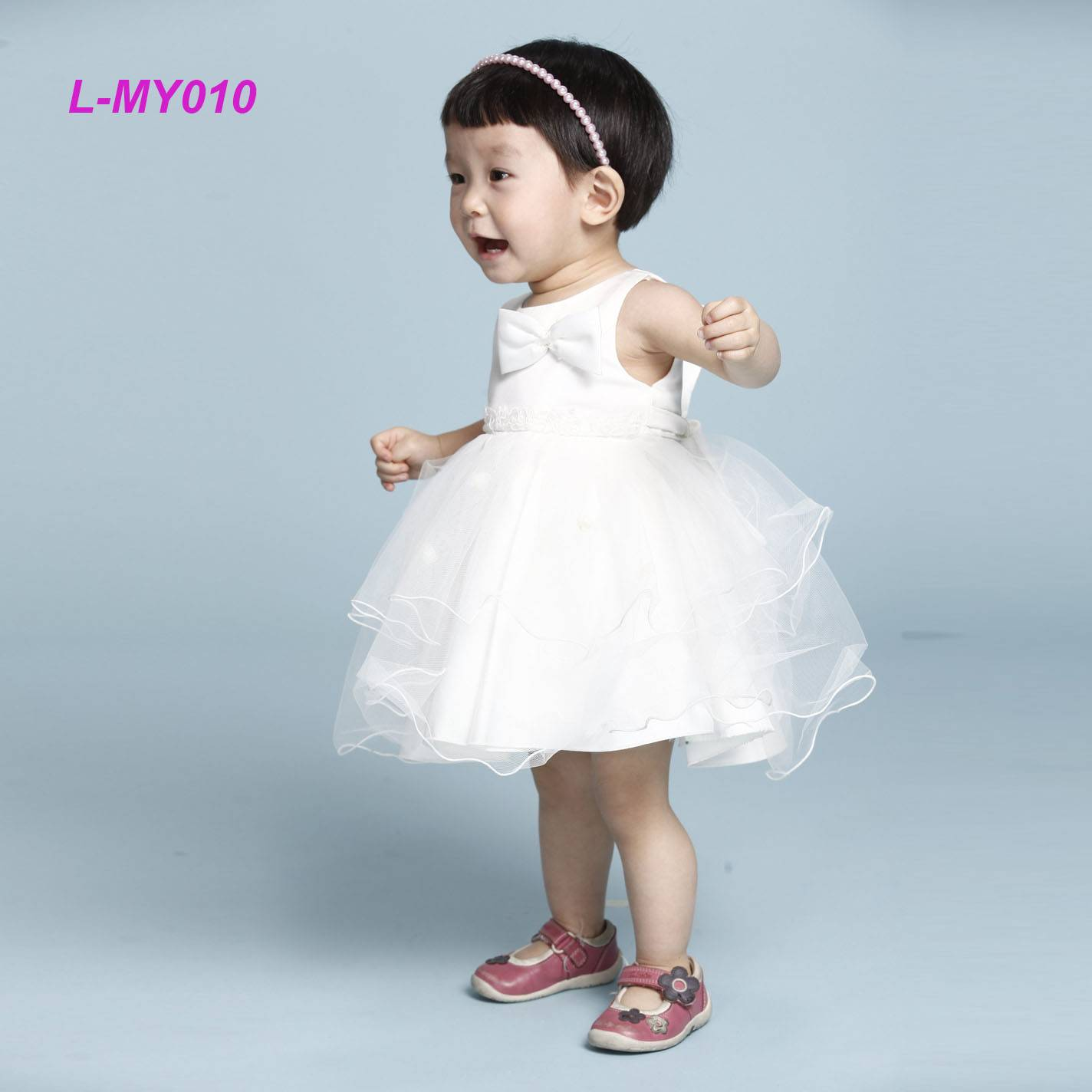 Elegant sleeveless chiffon white baby toddler clothes party dress design