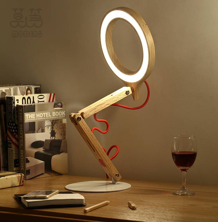 Simple & Fashion America red oak wood desk lamp nature style touch sensitive led table lamp AC85-265