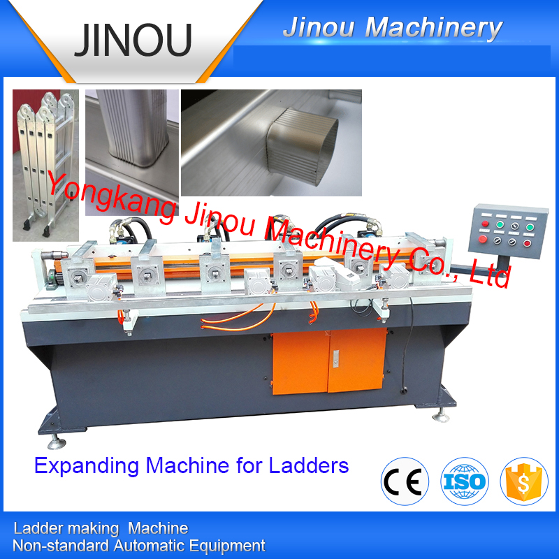 Automatic pipe expanding machine for aluminium ladders