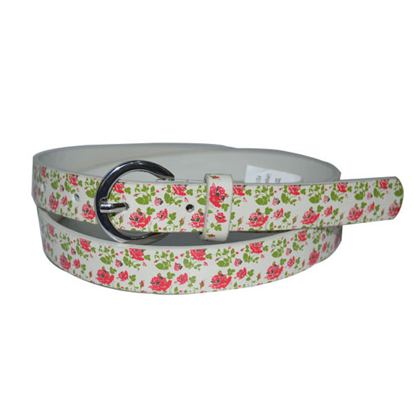Ladies' Fashionable PU Leather Belts with Flower Printing [JB17057-1-PR]