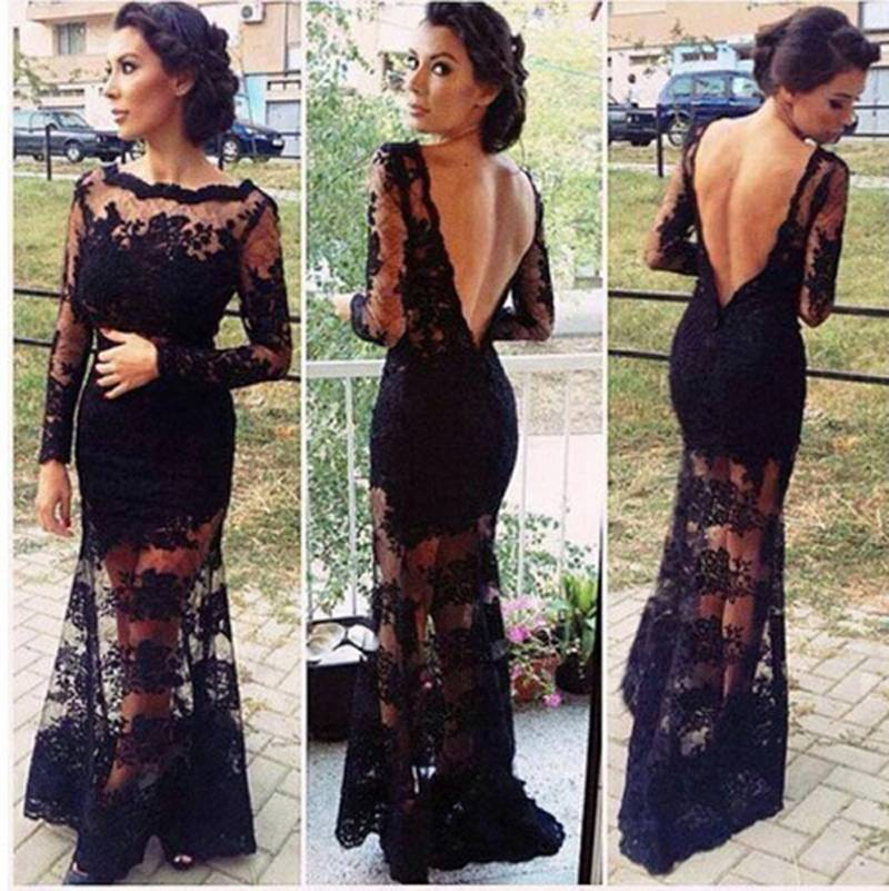 2015 Sexy Long Dress Lace Backless Hollow Women Patry Dress Sexy Charming Slim Banquet Dress