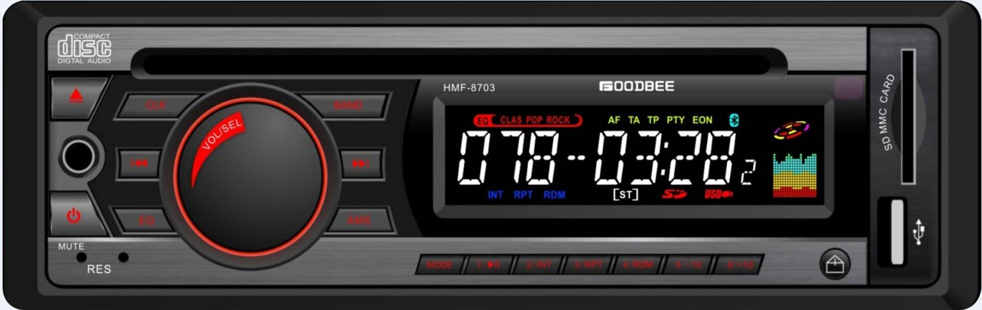Detachable Panel Car CD,MP3 Player HMF-8703