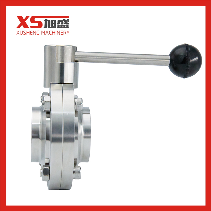 Sanitary Stainless Steel Welding Type Butterfly Valve with Black Ball