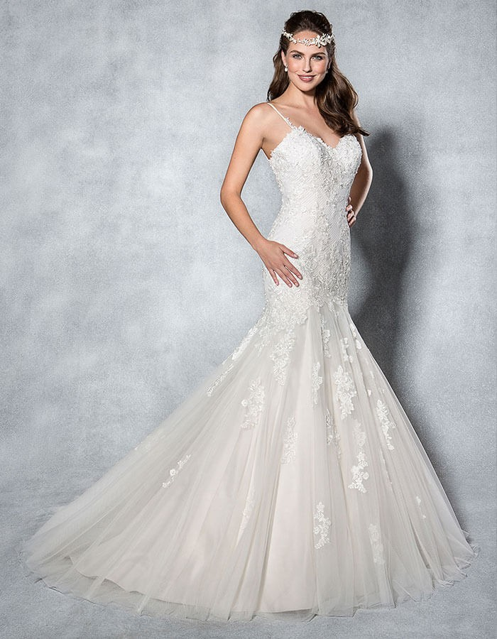 2017 china factory new fashion wedding dress with lace appliqued