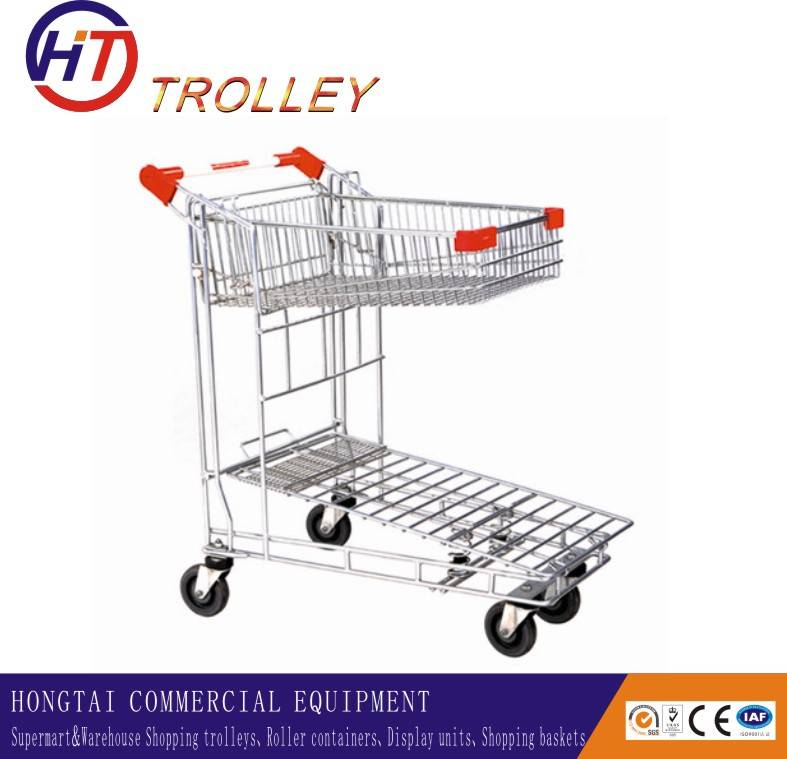 4 wheels hand trolley, warehouse trolley,  logistic cargo trolley