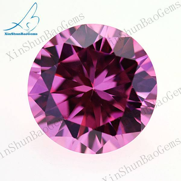 Wholesale Round Brilliant Cut Pink Loose Cubic Zircon CZ Stone
