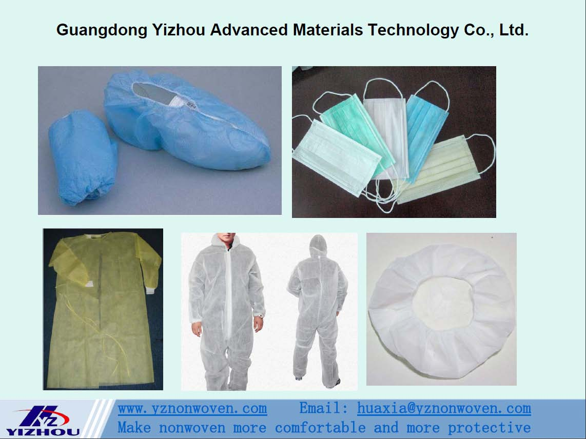 pp spunbond nonwoven fabric for ace mask, protection articles, surgical gown, shoes cover
