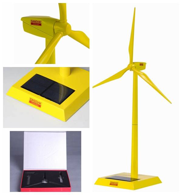 Die cast yellow Home Decorations solar Windmill Model