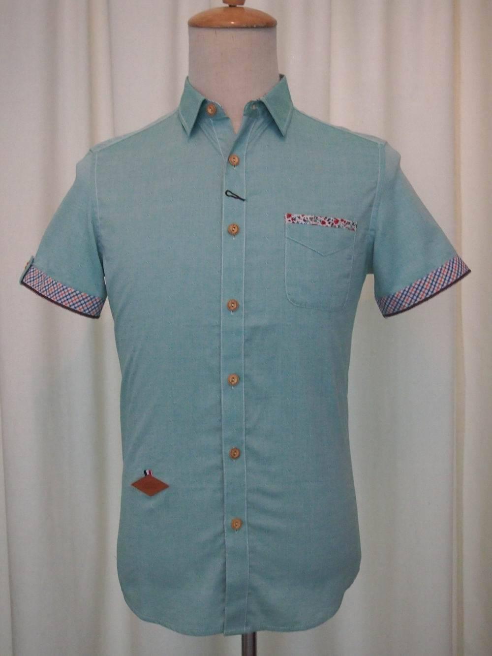 Men's Short Sleeve Shirt solid dyed jacquard fabrics 2015Fashion NEW