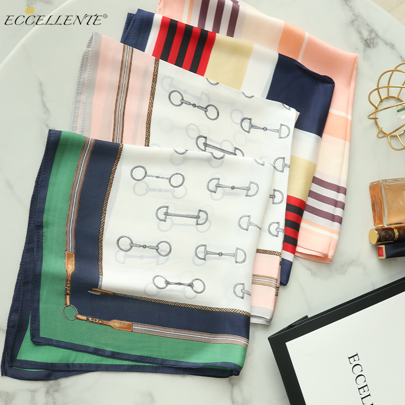 2021 High-End Retro Printed Silk Small Square Towel Can Be Used in Spring, Autumn and Winter