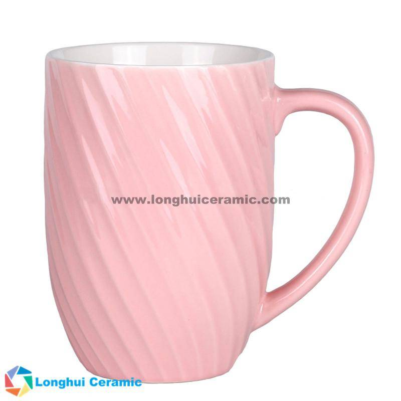 12oz Custom two-tone thread-shaped exterior ceramic coffee mug