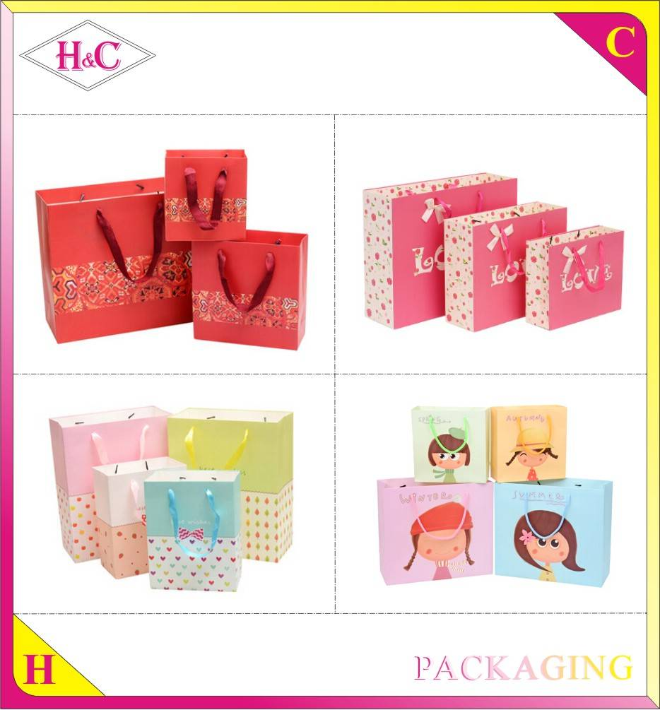 Manufacture paper handle customized design gift printed kraft paper bag