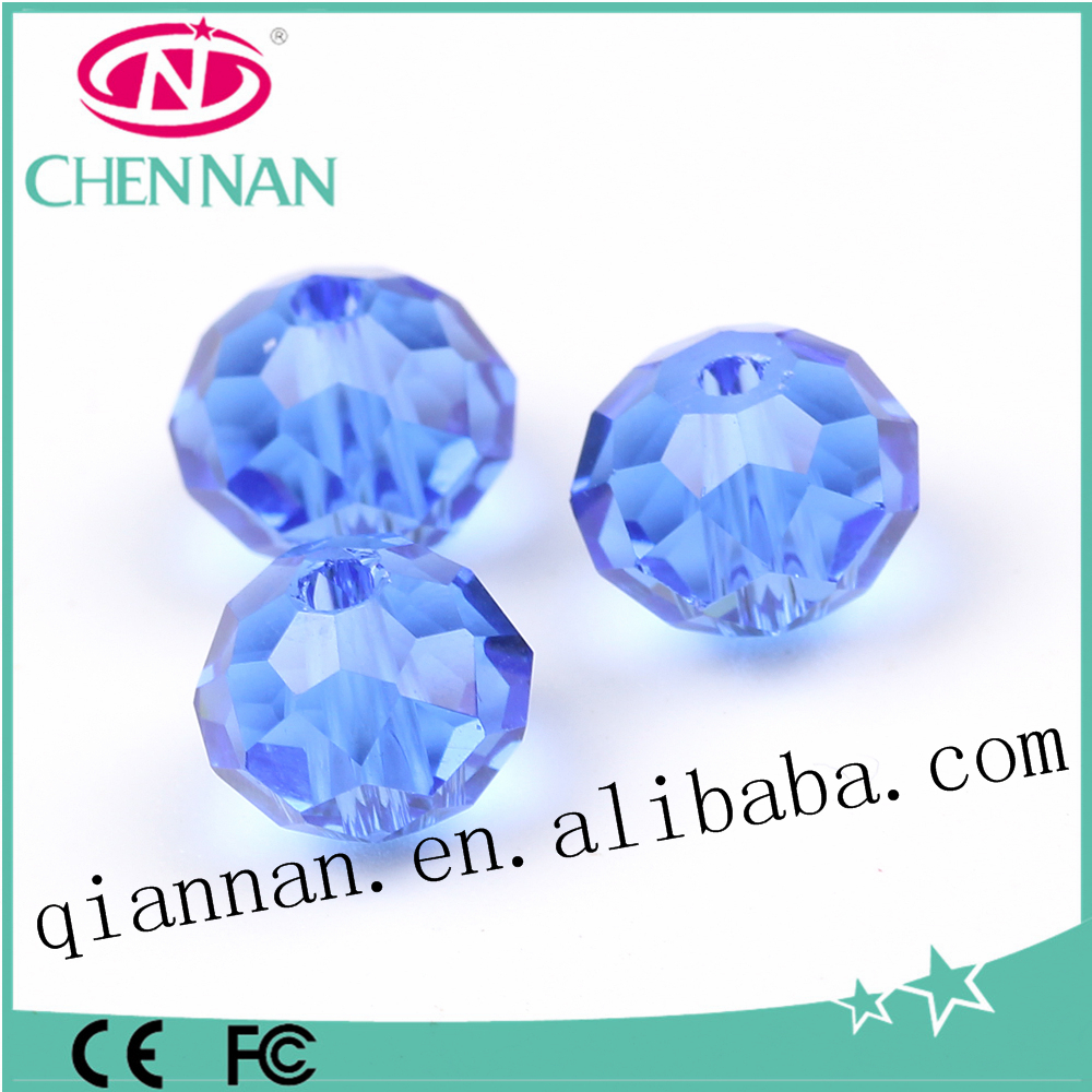 pujiang popular blue sapphire diamond crystal glass rondelle beads