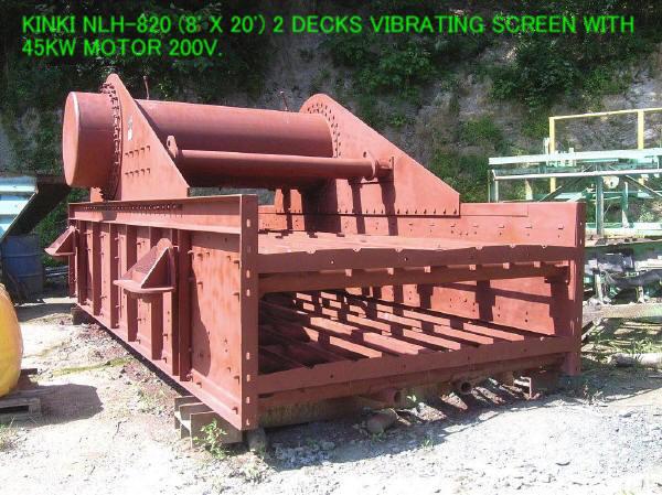 "USED ""KINKI"" NLH-820 (8' X 20') 2 DECKS HORIZONTAL TYPE VIBRATING SCREEN S/NO. S-4986"
