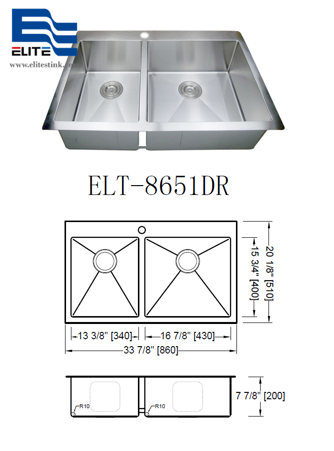 NZ Stainless Steel Sink drop in double bowl double hole