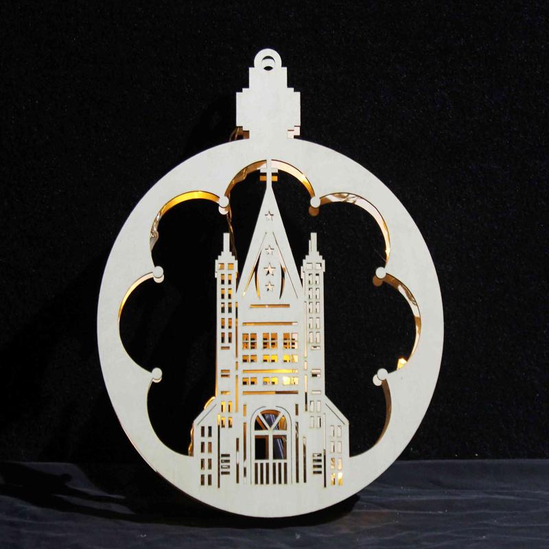 home decorative wooden round led light children gift