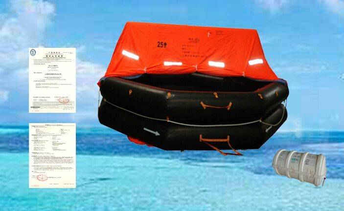 Throw over board marine life rafts with 25 persons