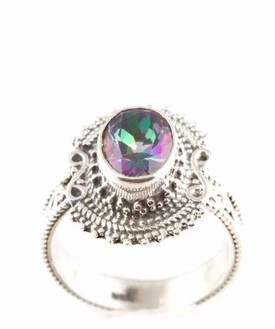 92.5 sterling silver Mystic Topaz Ring