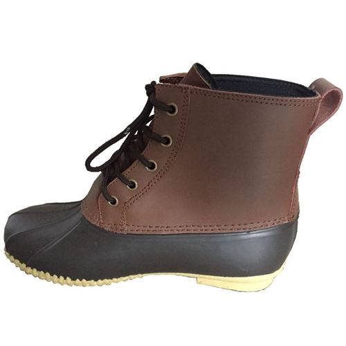 Gardening shoes with leather upper and rubber outsole