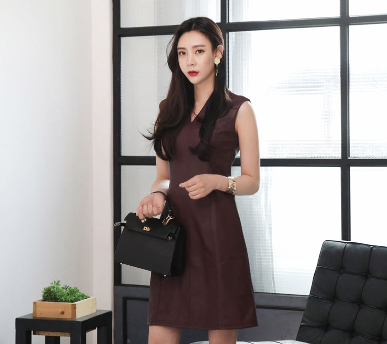 Classy Stylish Summer Short dress Sleeveless Slim Leather dress_Classymc