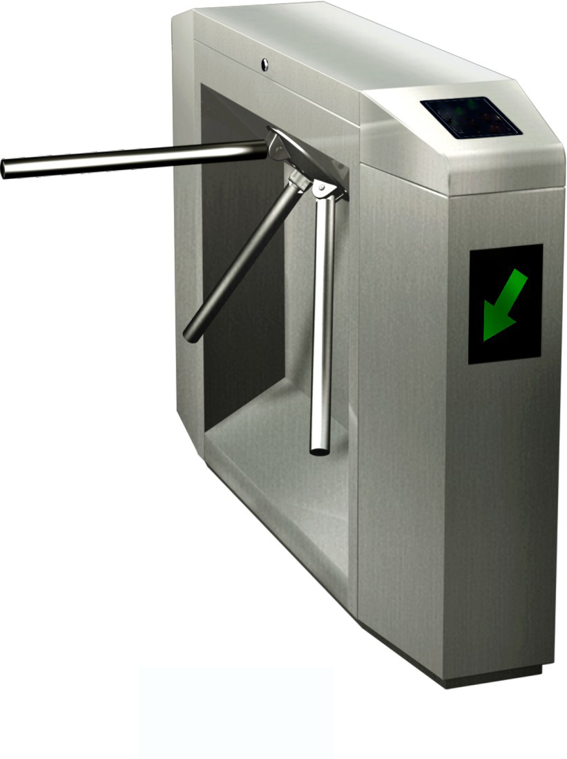 Pedestrian Security Pass Stainless Steel Tripod Turnstile Gate with RFID IC/ID Card
