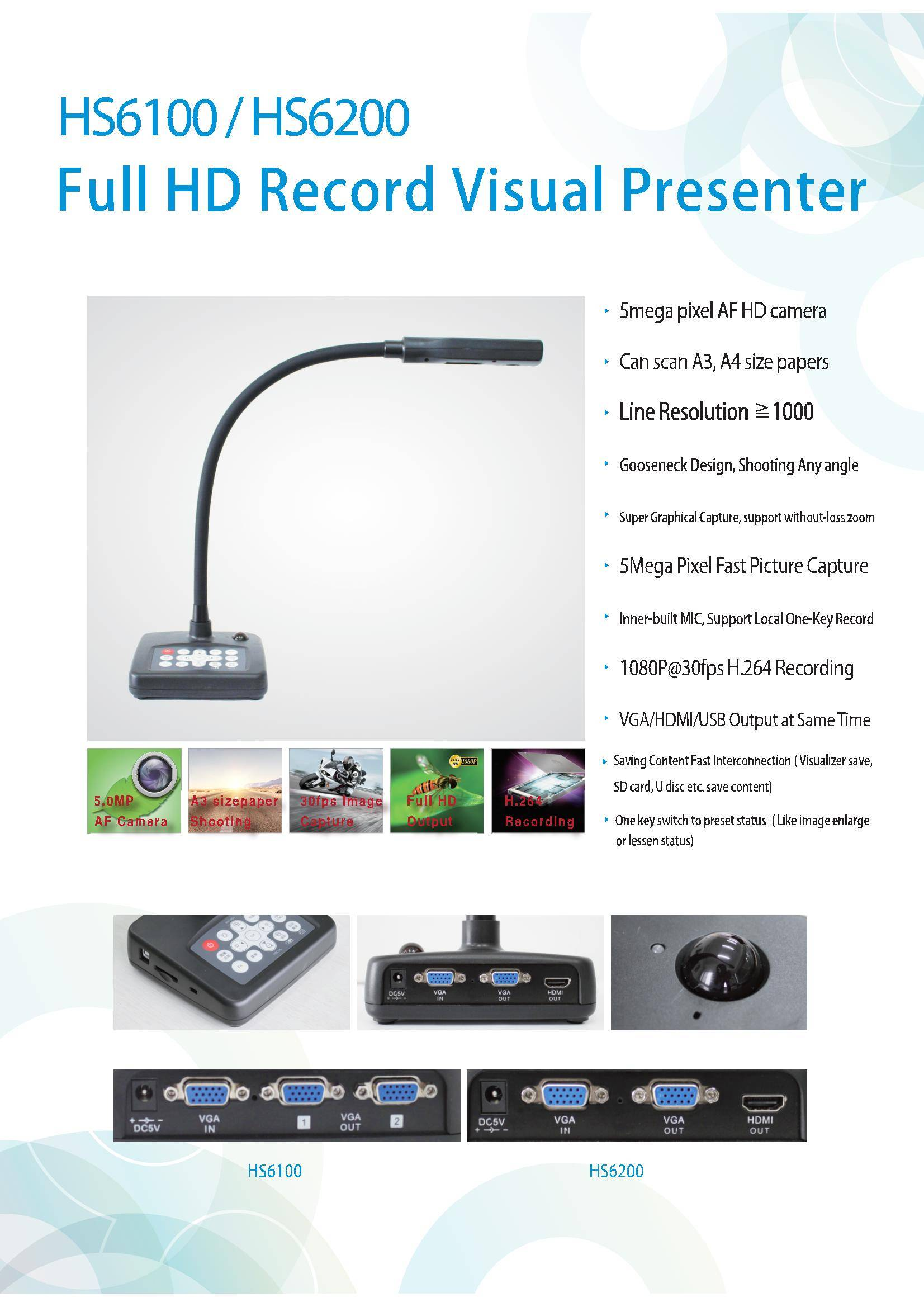 Gooseneck visualizers visual presenter 3D Document Scanner