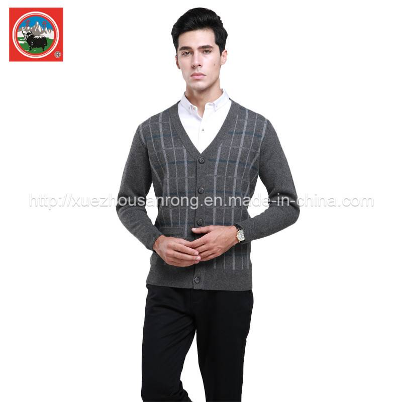 Men's yak wool/cashmere knitted pullover/cardigan clothing