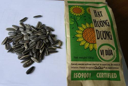 Sunflower seeds with coconut flavor
