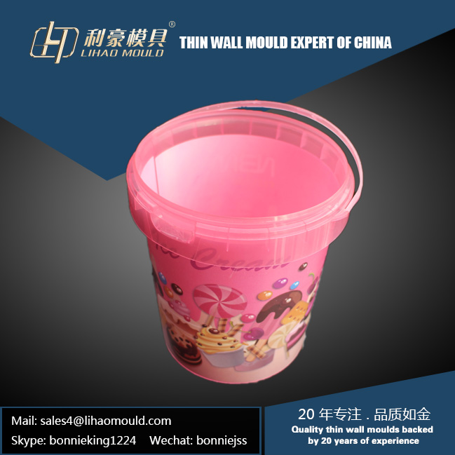 high speed IML container with handle mould
