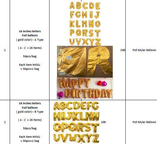 16 inch alphabet & Numbers Foil Mylar Balloons