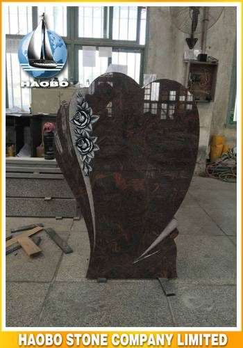 Red Granite Heart Shape Headstone With Floral Carving