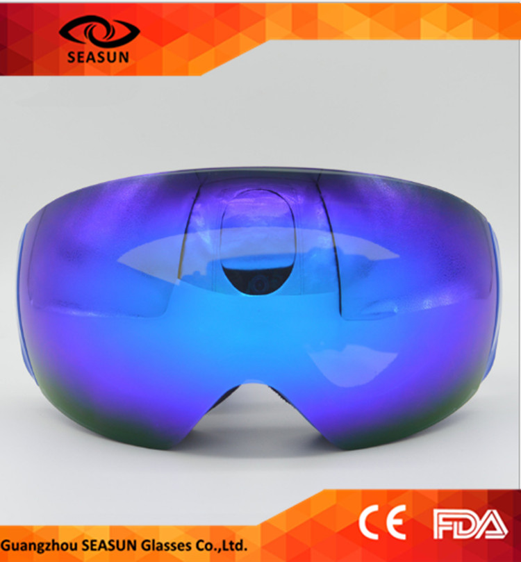 Blue Winter UV400 Eye Protective Snow Goggles With Custom Ski Goggle Strap