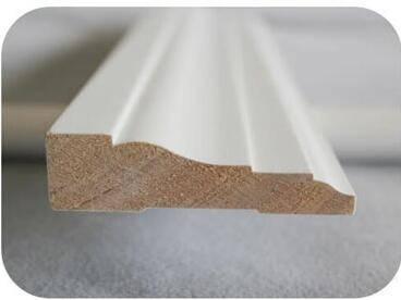 Primed finger joint base board pine moulding