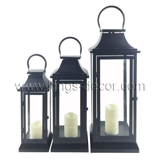 Best seller set of 3 black metal led candle lantern