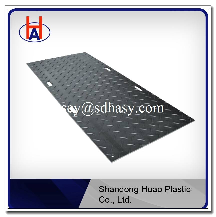 black plastic ground protection mat /4'*8' plastic road mat