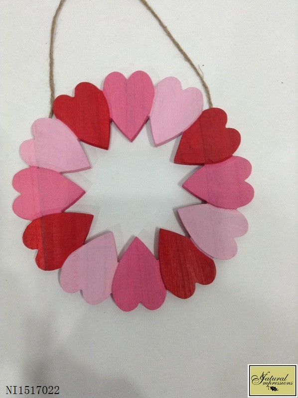 Red & pink wood heart easter ornament