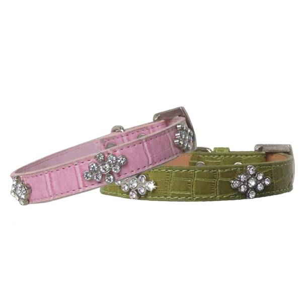 Crocodile Style Leather Dog Collar with Crystal and Metal Flower