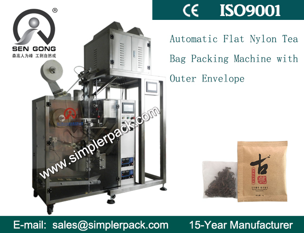 Flat Ultrasonic Nylon Tea Bag Packing Machine with Outer Envelope