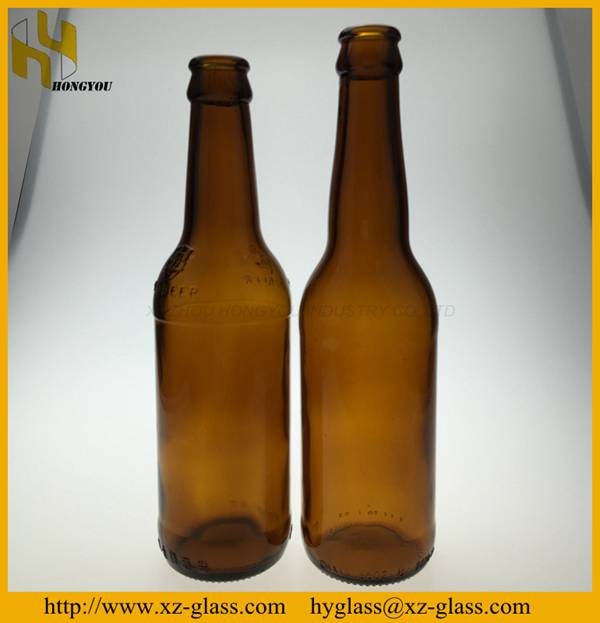 330ml wholesale high quality factory price amber glass beer bottle with crown cap